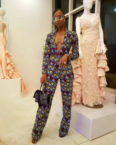 angel obasi's hot ankara palazzo trousers with a matching long sleeve coat - instagram