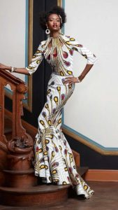 ankara mermaid gown with necklace design - fulaba