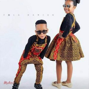 ankara pinafore style for boy and girl twins with sunglasses - momoafrica