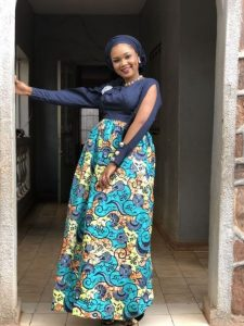 ankara plain and pattern maternity gown with long sleeve - regtailor