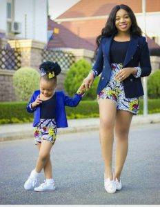 ankara short with plain short suit for mum and daughter - etsy
