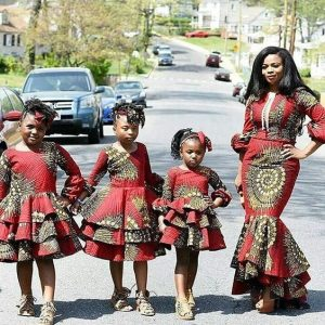 ankara style for mum and her three kid daughters - weddingdigestnaija