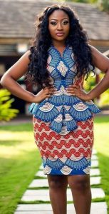 aso ebi ankara lace short skirt and short sleeve blouse - pinterest