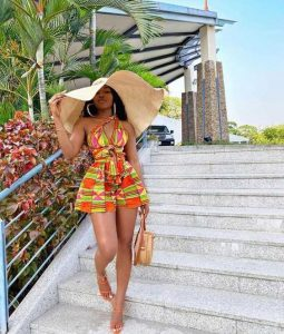 beach party kente style with beach hat - fashionfetchup