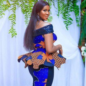 beauty queens off shoulder ankara peplum blouse with long skirt - weddingdigestnaija