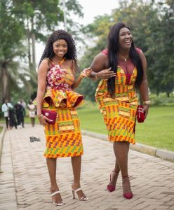 bestie short sleeve kente skirt and blouse and gown style for wedding - squad ankarafashion top