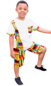 boys shirt with kente design and shorts - ekidshow