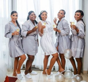 bridal pre wedding shot with cute night wears and wine glasses - bellanaijaweddings