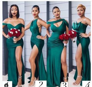 bridesmaids in different styles high slit dark green gown - wedding decorhouse website