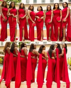 bridesmaids one shoulder red dress with split side and a matching purse - storenvy