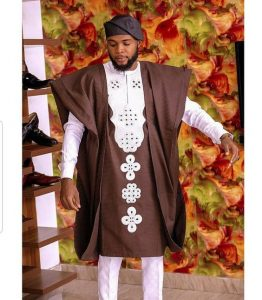 brown ankara agbada with white trousers and embroidery - etsy