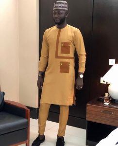 brown inspired tailored ankara senator suit for agbada - instagram