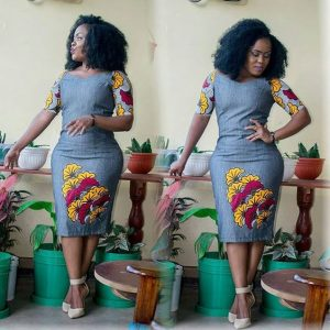 casual jean gown with floral ankara patch