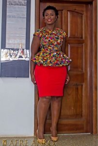 casual outing ankara peplum blouse and plain skirt style - fad neatstuf