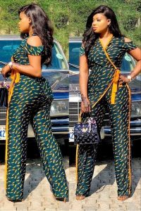 celebrities fitted ankara palazzo jumpsuit - bestystyles