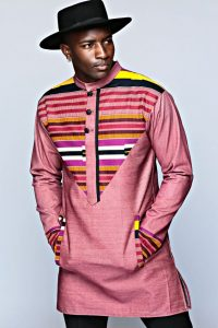 celebrities way of combining kente and jeans material with a sunhat for men - menogudesigns