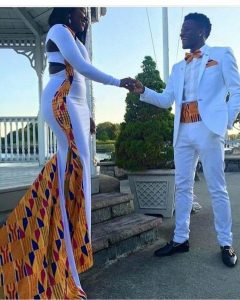 classy african wedding long sleeve ankara mermaid gown - instagram