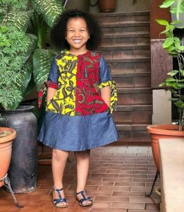 classy combination of jeans and two ankara fabrics gown for girls - ankarahub