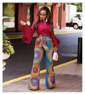 classy ladies ankara palazzo trousers with long funnel sleeve top - etsy