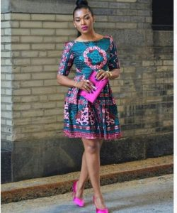 classy teenage girls short ankara gown with a matching purse and heel shoes - ankarahub