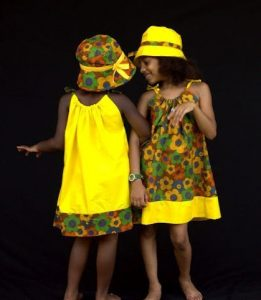 colourful ankara style for twin girls with matching hat - pagnifik