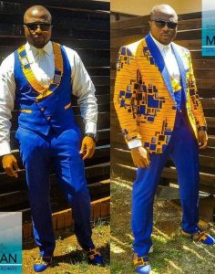 complete ankara plain and pattern suit with matching shoe - latestfashion club