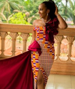 complex kente split gown style for aso ebi - blog stylishgwinafrica