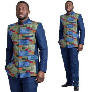 corporate kente plus plain Ankara combo for office work or wedding for men - afrilege