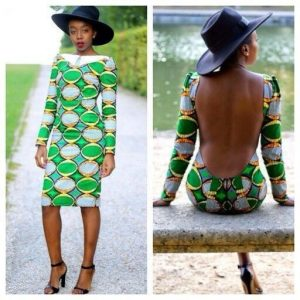 creative long sleeve ankara gown with open back - fashionruk