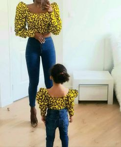 crop top ankara style with jeans trousers for teenage sister and her kid sister - instagram