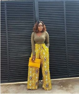 curvy ladies ankara palazzo trouser with long sleeve top - dressmeblogaddress blogspot