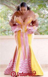 customized kente peplum top with long skirt for african brides - zaza songgoals
