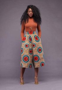cute ankara palazzo three quarter short with long sleeve fitting blouse - frolicious de