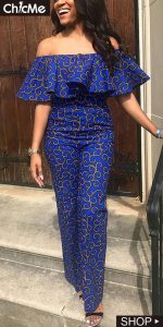 cute chicks off shoulder ankara jumpsuit with cape - chicme