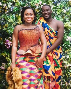 cute ghana couples showcasing another unique kente outfit especially for ladies - mammypi