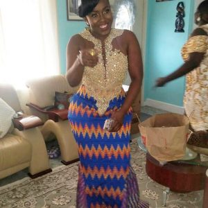 cute kente queen slaying with a gown combination of lace and kete fabrics - instagram