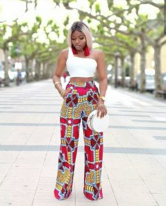 cute ladies ankara palazzo trousers style with one short sleeve crop top - mammypi