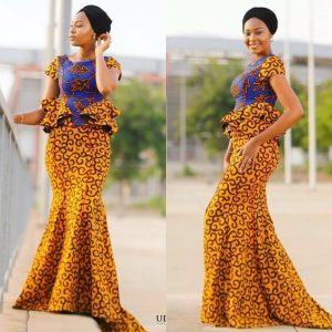 Cute ladies stylish Ankara blouse with overflowing skirt - amillionstyles