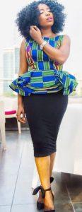 cute short sleeve ankara peplum blouse with plain skirt - youtube