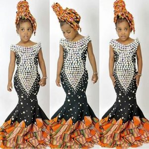 cute traditional wedding ankara aso ebi style for kid girls with bead design - instagram