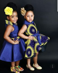 cute twin girls ankara style with rose hair pack - instagram