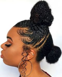 cute two knots natural hairstyle for traditional wedding - instagram