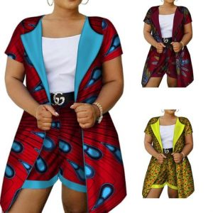 dashiki cotton african print long suit with short for plump ladies - afrinspiration