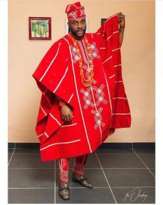 ebuka's classic red ankara agbada - claraitosblog