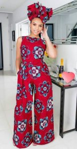 fitted ankara palazzo jumpsuit with matching head tie - momoafrica