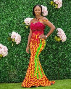 fitting long stylish kente gown - instagram
