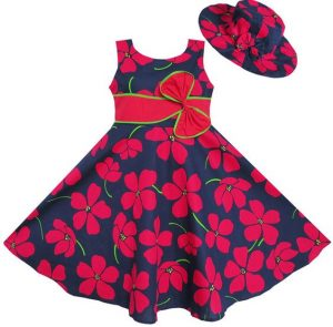 floral ankara kid dress with bow tie design and sunhat - ebay