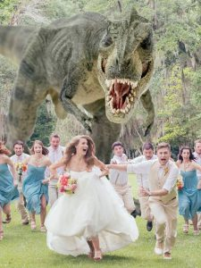 funny wedding party photo where all run as if being pursued by a animated leopard - elegantweddinginvites