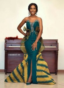 gallant ladies kente plain and pattern almost sleeveless long overflowing gown - africanfashionandlifestyles