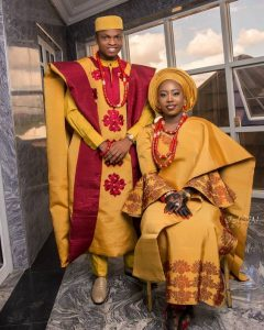gold and dark red ankara agbada for sweet couples - instagram